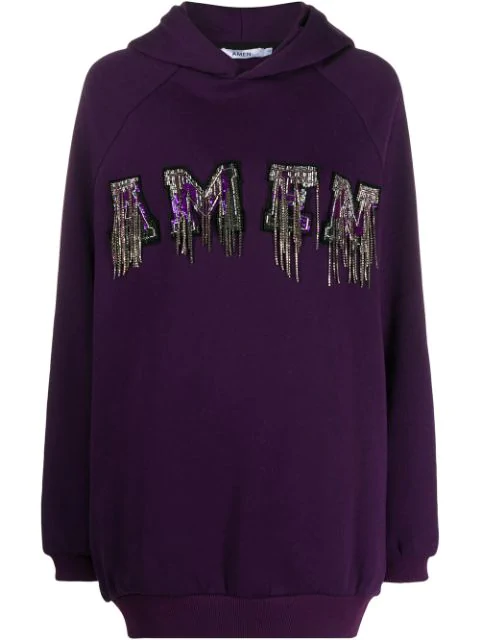Amen Sequin Embroidered Hoodie In Purple