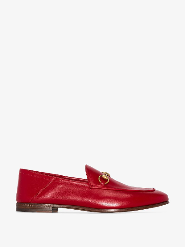Gucci Brixton Collapsible Leather Loafers In Red