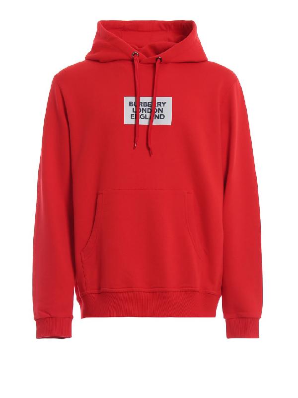 Burberry Printed Cotton Jersey Sweatshirt Hoodie In Red