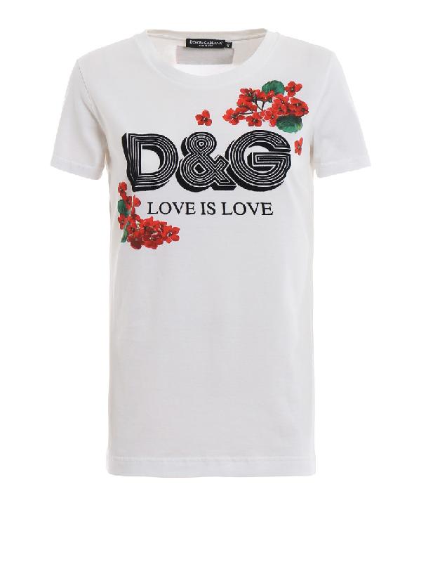 Dolce & Gabbana Dolce And Gabbana White Geranium T-shirt In W0800 White