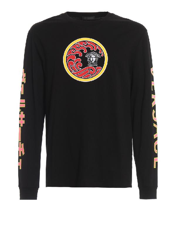 Versace Medusa Head Print Long Sleeve Sweatshirt In Black