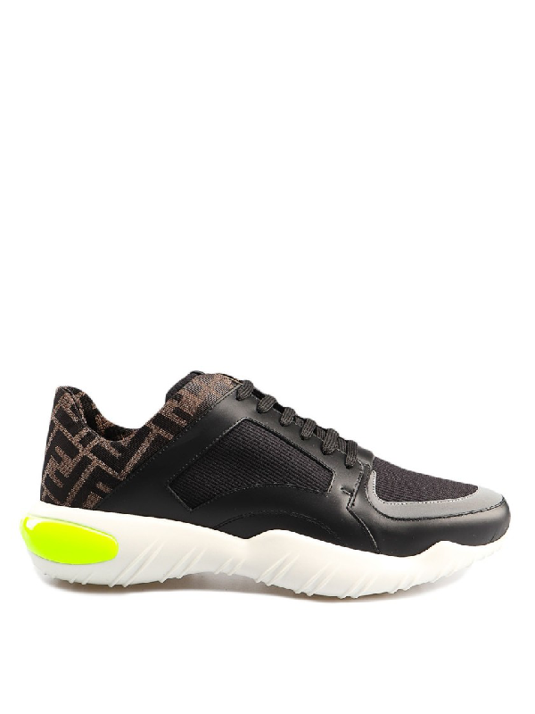 Fendi Leather And Fabric Black Sneakers With Logo Print