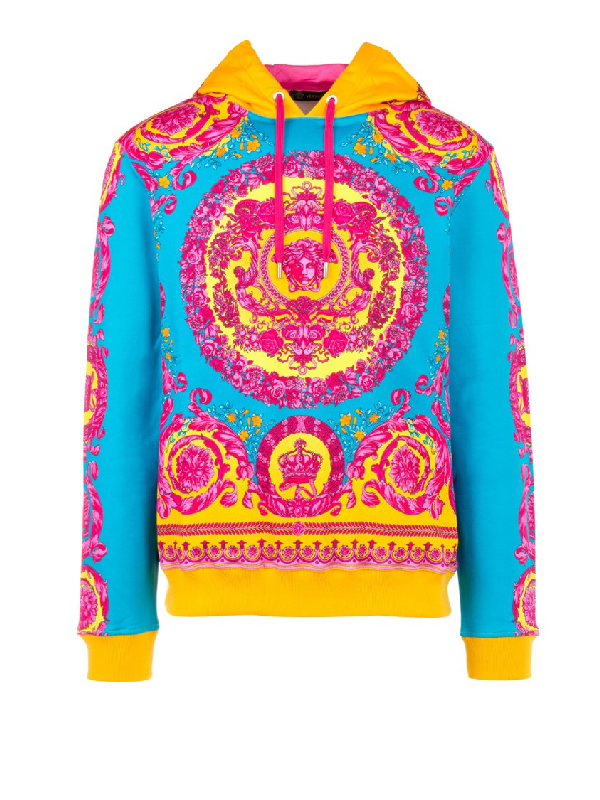 Versace Baroque Print Cotton Sweatshirt Hoodie In Blue