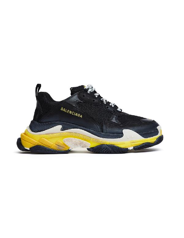 Balenciaga Men's Triple S Mesh & Leather Sneakers, Black/yellow In 1087 Noir/ Jaune
