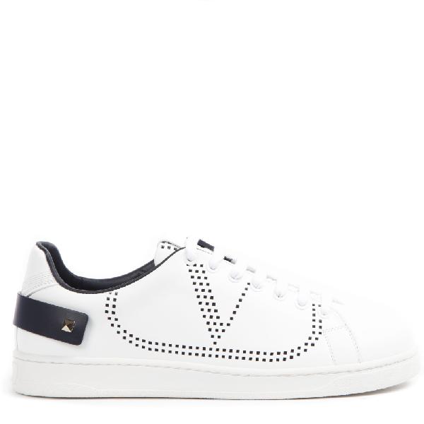 Valentino Low-top Sneakers Backnet Calfskin Logo Rivets Marine White