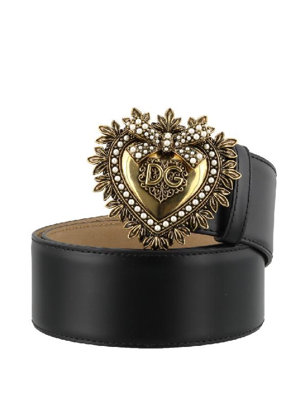 Dolce & Gabbana Devotion Leather Belt With Embellished Buckle In Black