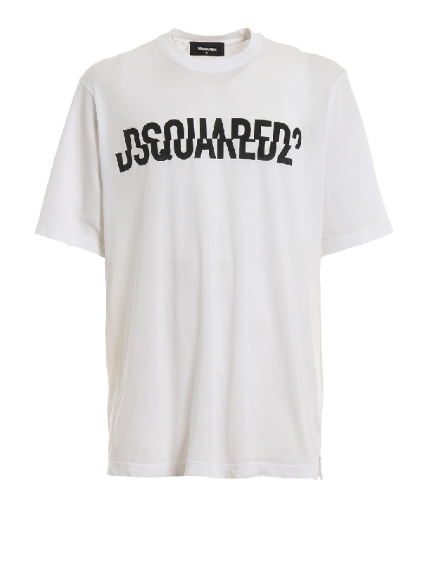 Dsquared2 Sliced Logo-print Cotton T-shirt In White