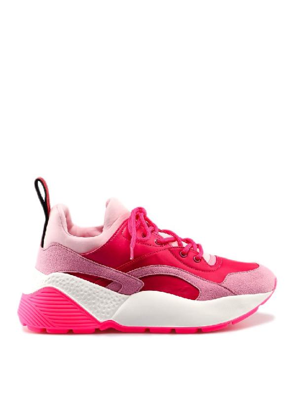 Stella Mccartney Eclypse Faux Leather, Faux Suede And Neoprene Sneakers In Rose & Fuchsia