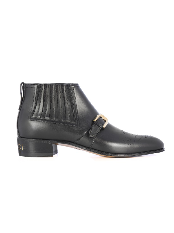 Gucci Men's Leather Ankle Boot With G Brogue In Black