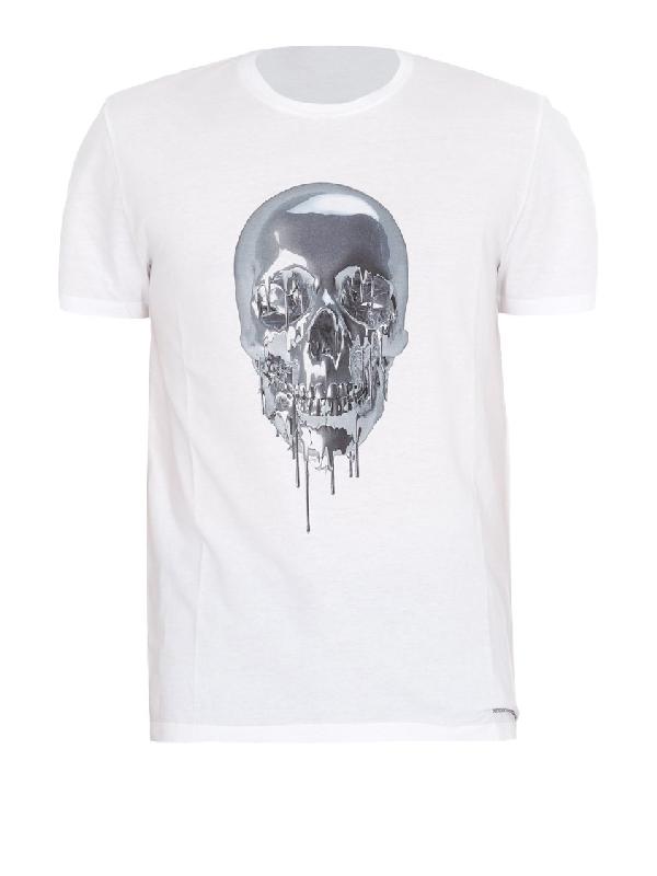 Alexander Mcqueen Melting Metal Skull Print Cotton T Shirt In White