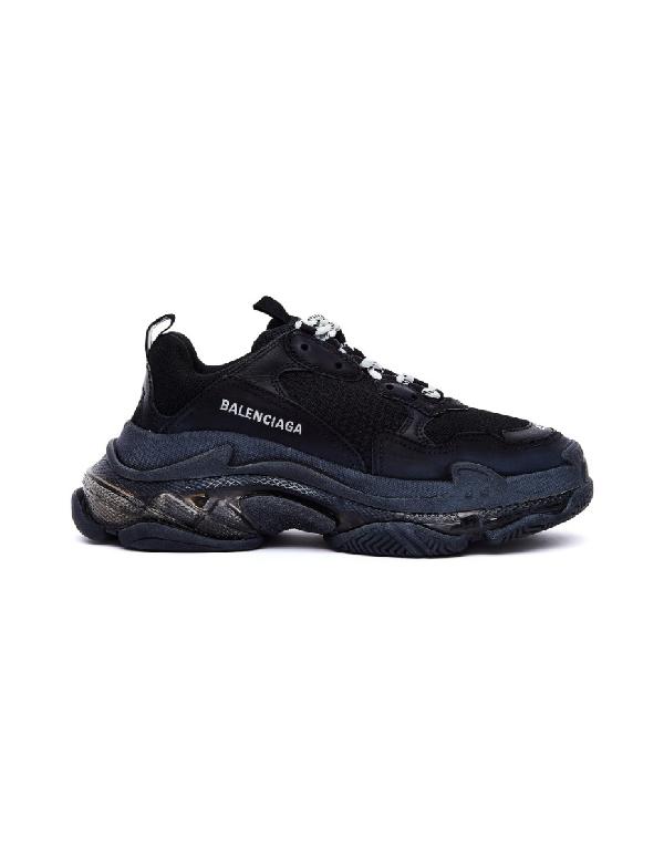Balenciaga Men's Triple S Tonal Mesh & Leather Sneakers In Black