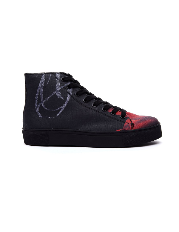 Yohji Yamamoto Printed Hi-Top Sneakers In 1 Black X Red