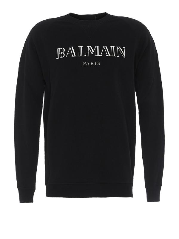 Balmain Metallic Logo-Print Loopback Cotton-Jersey Sweatshirt In Black