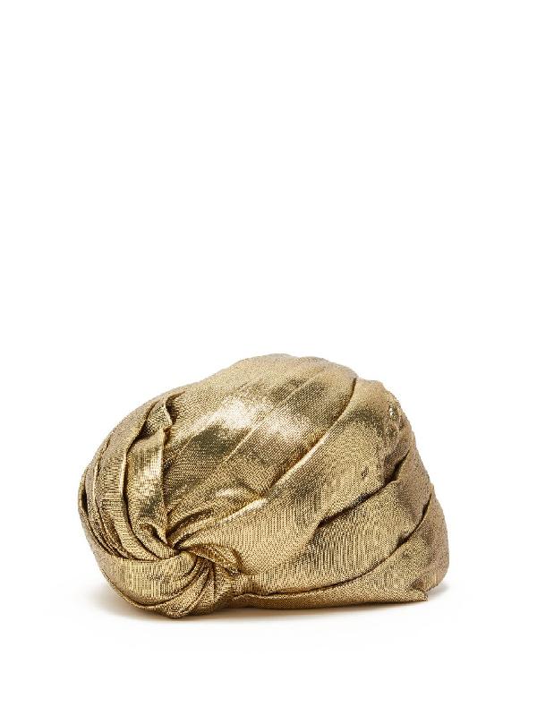 Gucci LamÉ Turban Hat In Neutrals
