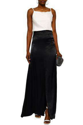 Les HÉroÏnes By Vanessa Cocchiaro The Malala Split-front Satin Maxi Skirt In Black