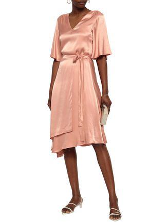 Les HÉroÏnes By Vanessa Cocchiaro The Maya Asymmetric Satin Wrap Skirt In Blush