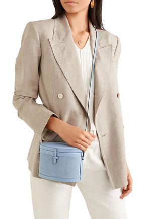 Hunting Season Leather-trimmed Suede Shoulder Bag In Light Blue