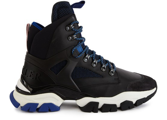 Moncler Tristan Suede, Leather, Mesh And Neoprene Hiking Boots In Black
