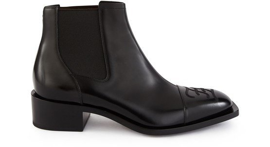 Fendi Leather Chelsea Boots W/logo Embroidery In Black