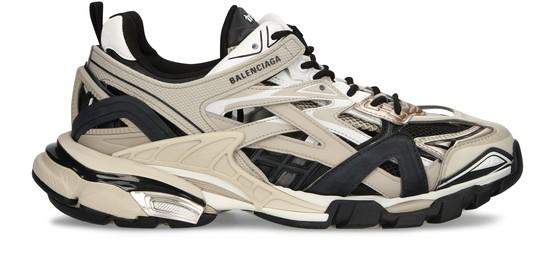 Balenciaga Track 2.0 Woven Nylon And Mesh Trainers In Beige/black