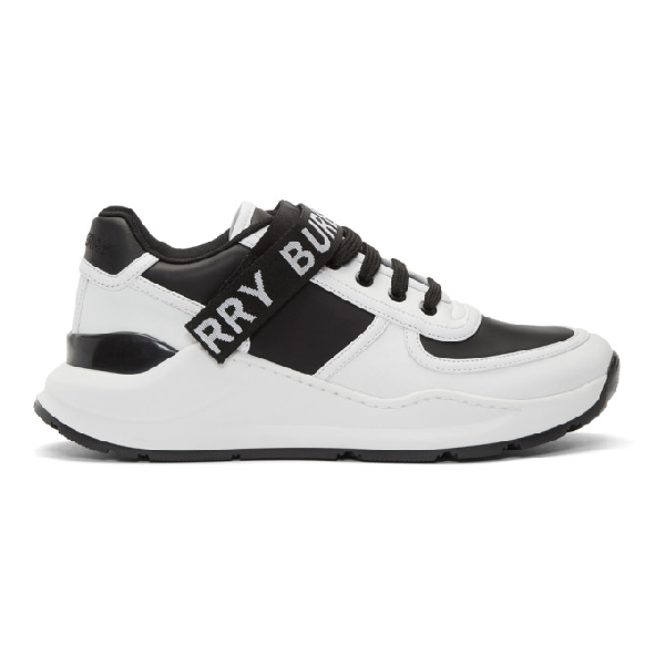 Burberry Leather And Fabric Black And White Sneakers With Logo Print In Black / Optic White