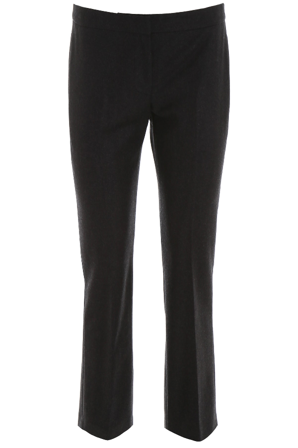 Alexander Mcqueen Wool Flannel Trousers In Anthracite (Grey)