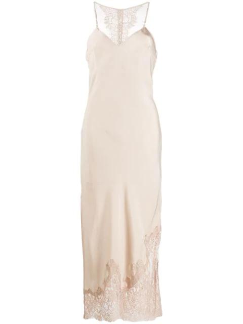 Gold Hawk Lace Trimmed Slip Dress In Neutrals
