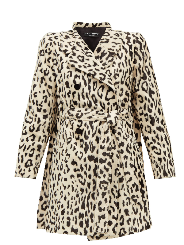 Dolce & Gabbana Leopard-print Double-breasted Goat Hair Coat In Neutrals