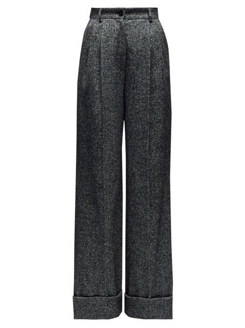 Dolce & Gabbana High Rise Wide Leg Wool Blend Trousers In Grey Multi