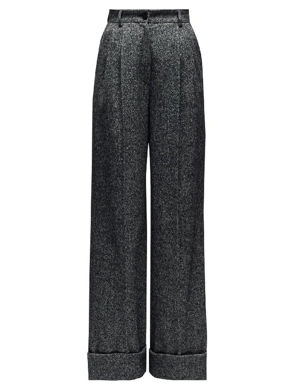 Dolce & Gabbana High-rise Wide-leg Wool-blend Trousers In Grey Multi