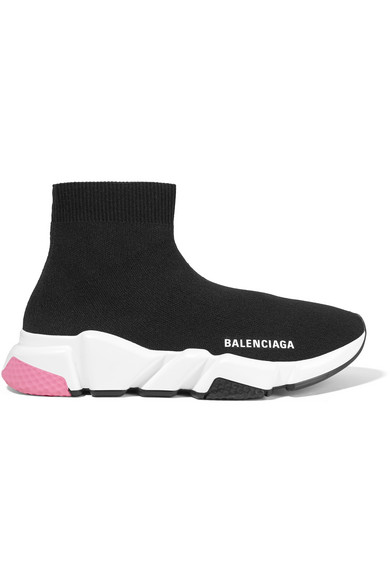 Balenciaga Speed Sneakers In Black Knit With Multicoloured Soles