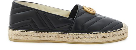 Gucci Logo-Embellished Quilted Leather Espadrilles In 1000 Black