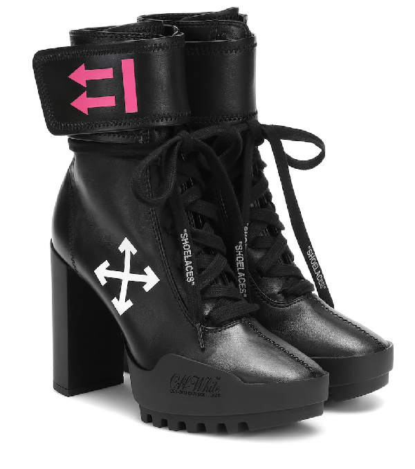 Off-white Arrow Moto Ankle-wrap Leather Combat Boots In Black