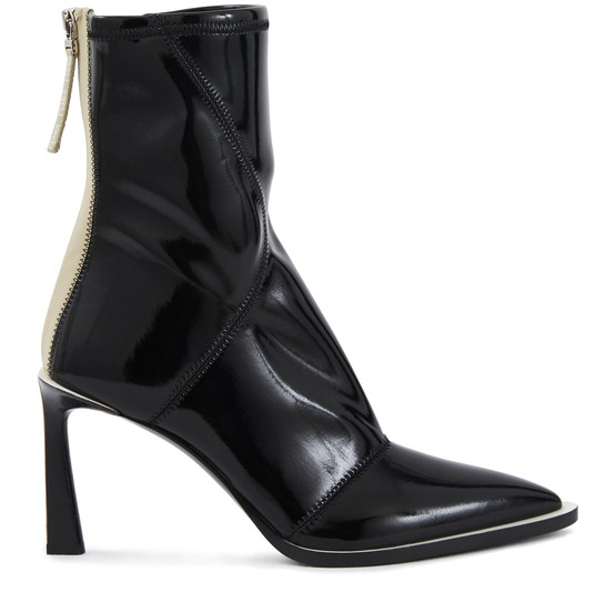 Fendi Two-tone Glossed-neoprene Ankle Boots In Black