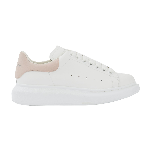Alexander Mcqueen Suede-Trimmed Leather Exaggerated-Sole Sneakers In Light Pink
