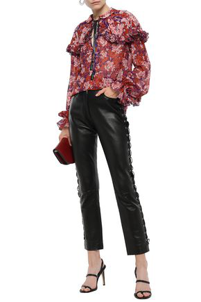 Giambattista Valli Tasseled Floral-print Silk-georgette Blouse In Purple
