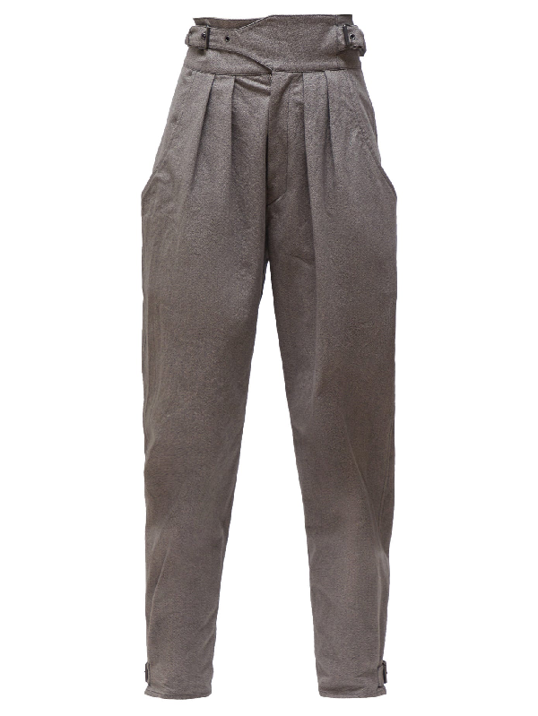 Isabel Marant Yurnea Pleated Cotton Tapered Trousers In Dark Grey