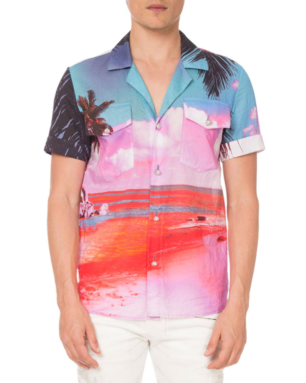 Balmain Beach-print Short-sleeve Shirt In Pink