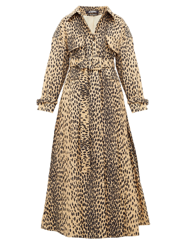 Jacquemus Thika Belted Leopard-print Cotton-blend Trench Coat In Leopard Print