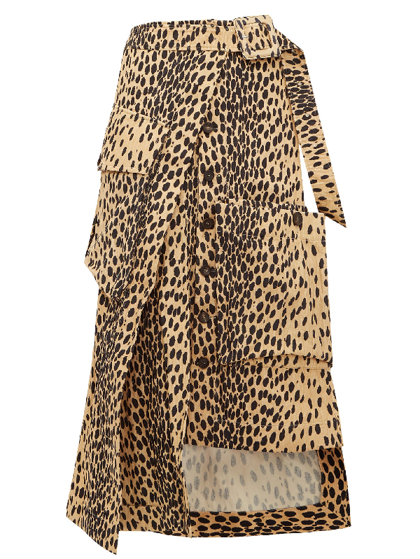 Jacquemus Deconstructed Button-front Animal-print Midi Skirt In Brown
