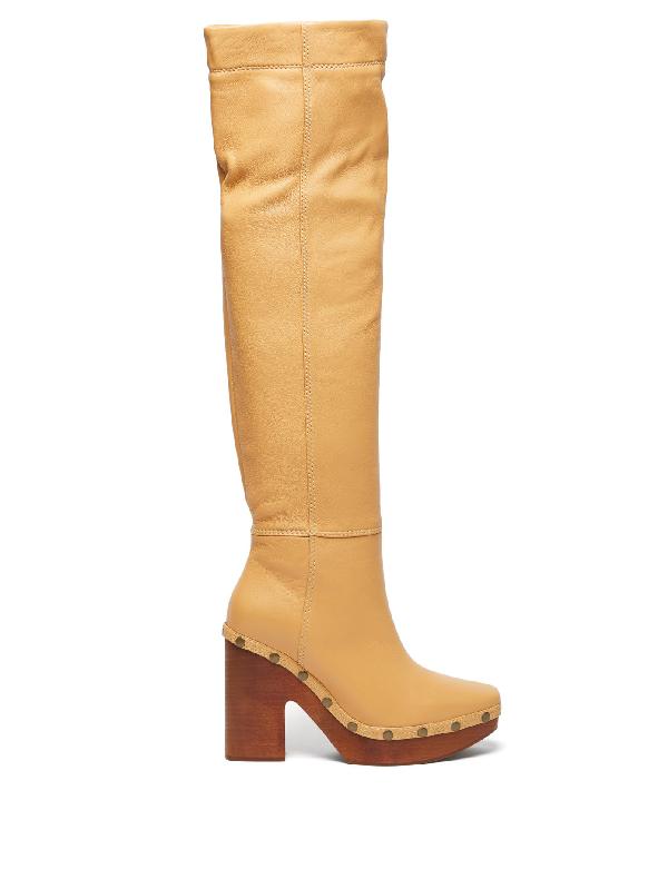 Jacquemus 110mm Les Bottes Sabot Leather Boots In Neutrals