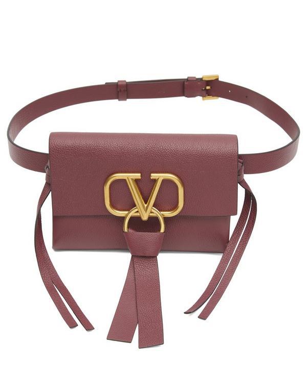 Valentino Garavani V-ring Leather Belt Bag In Rubino