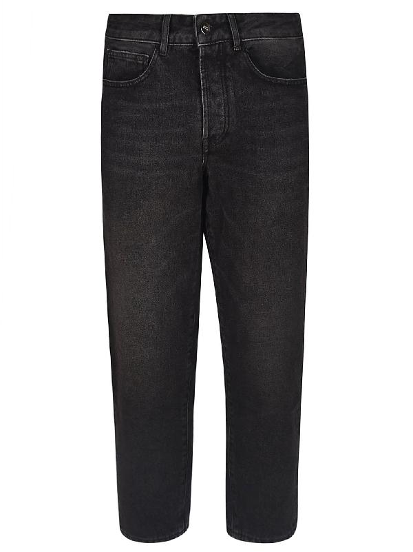 Marcelo Burlon County Of Milan Cropped Length Jeans In Black