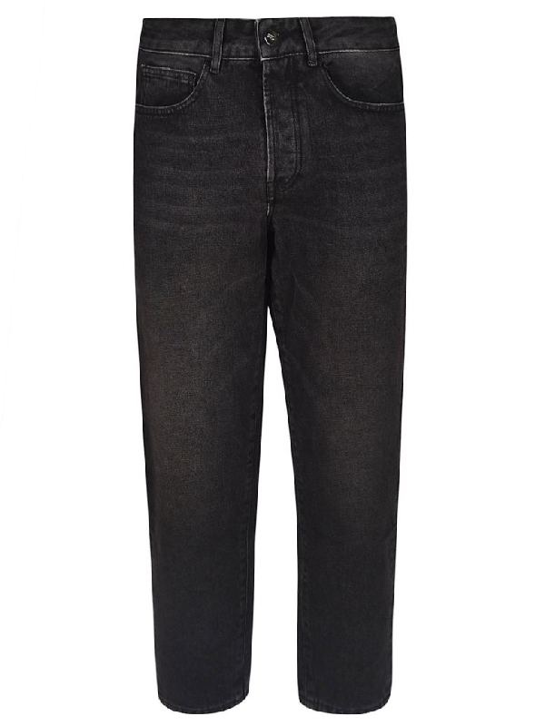 Marcelo Burlon County Of Milan Cropped Length Jeans In Black