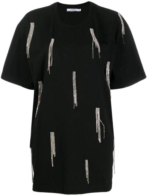 Amen Strass Fringe T-shirt In Black