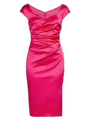 Talbot Runhof Begonia Gathered Satin Cap-sleeve Cocktail Dress