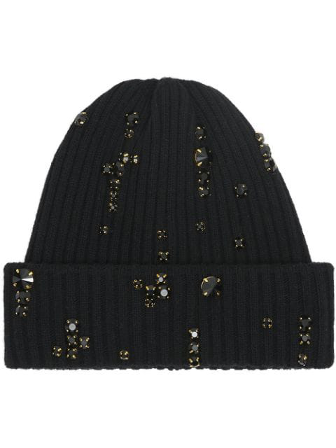 Burberry Embellished Rib Knit Wool Beanie In Black