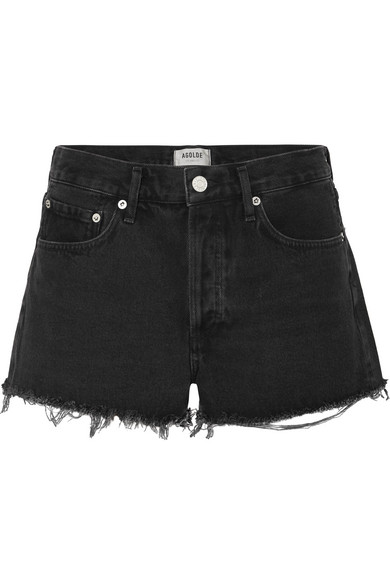 Agolde Parker Cutoff Denim Shorts In Tidal In Black