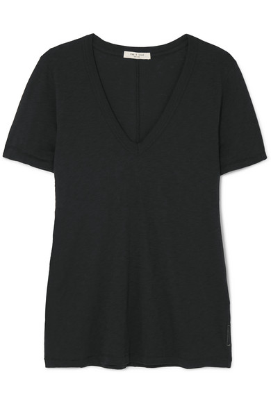 Rag & Bone The Vee Slub Pima Cotton-Jersey T-Shirt In 001 Black
