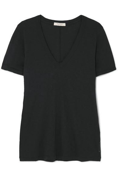 Rag & Bone The Vee Slub Pima Cotton-jersey T-shirt In Black